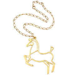Goldtone Modern Horse Pendant Necklace