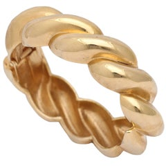 Goldtone Rope style Clamp Bangle, Costume Jewelry