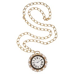 Jeweled Faux Watch Pendant Necklace, Costume Jewelry