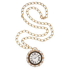 Jeweled Faux Watch Pendant Necklace