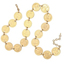 "60s ""Gold""Coin Belt or Necklace, Costume Jewelry"