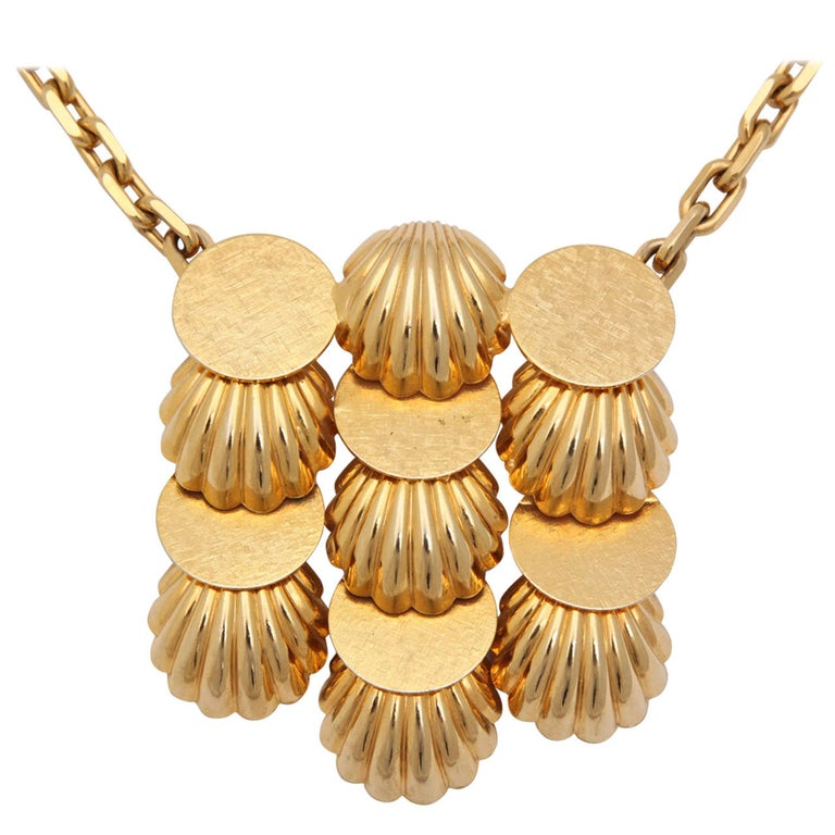 Shell Medallion Necklace, Costume Jewelry For Sale