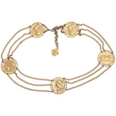 "Shakespeare ""Gold"" Coin and Chain Belt, Costume Jewelry"