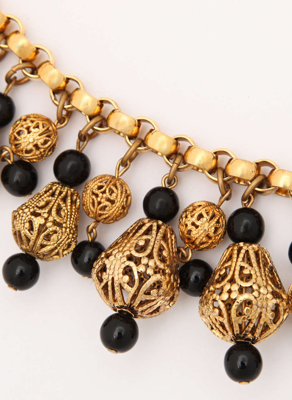 Black Bead and Goldtone Filigree Necklace by Regency 4
