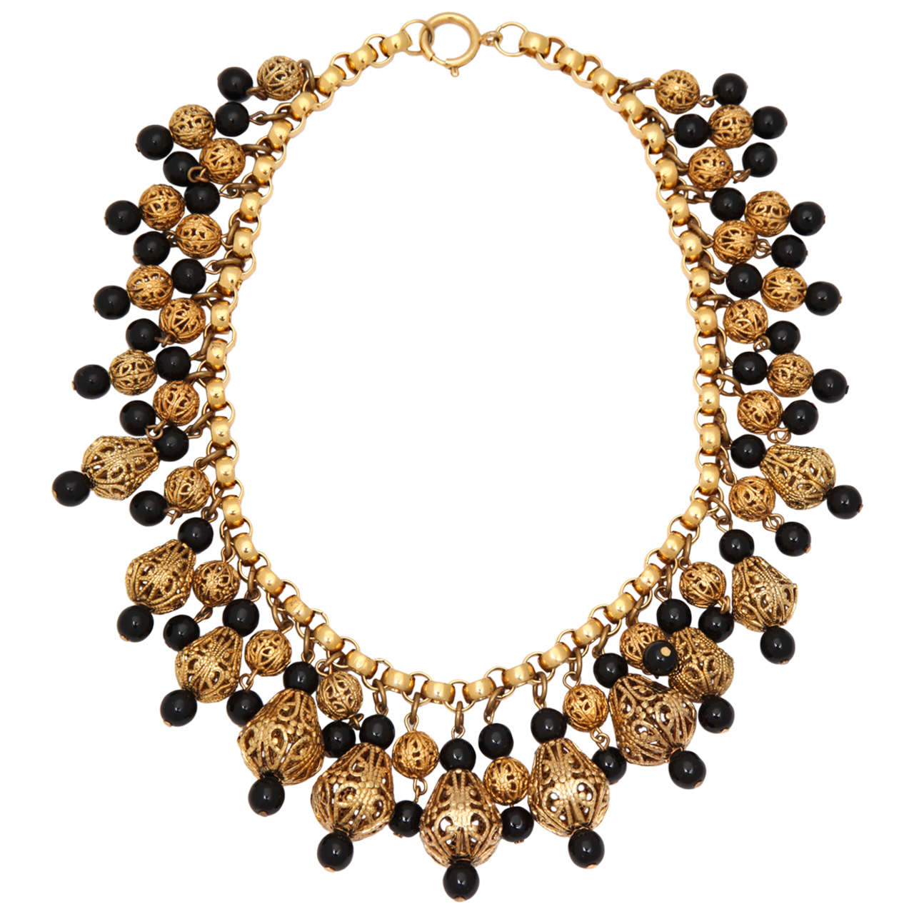 Black Bead and Goldtone Filigree Necklace by Regency 1