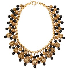 Black Bead and Goldtone Filigree Necklace by Regency, Costume Jewelry