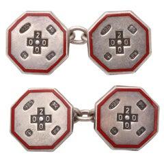 TIFFANY & CO. Red Enamel Silver Double Sided Cufflinks