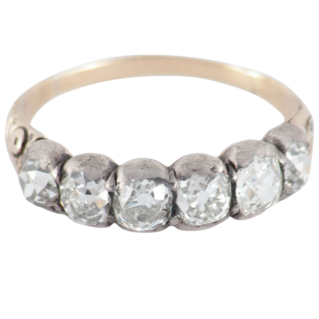 Antique Six Stone Diamond Silver Gold Band Ring