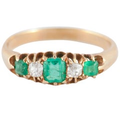 Antique Emerald Diamond Gold Five-Stone Ring