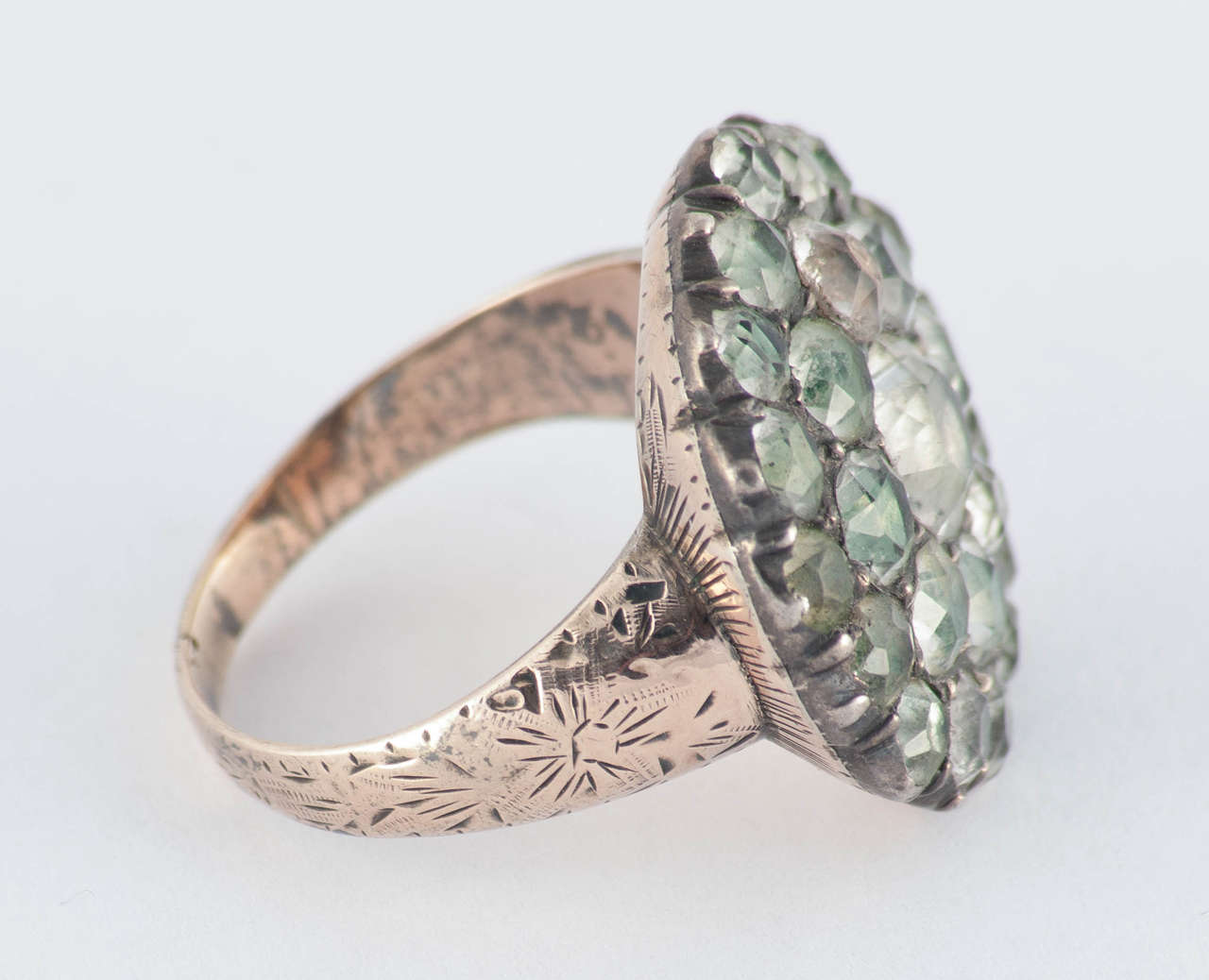 antique georgian gold and paste cluster ring for sale at