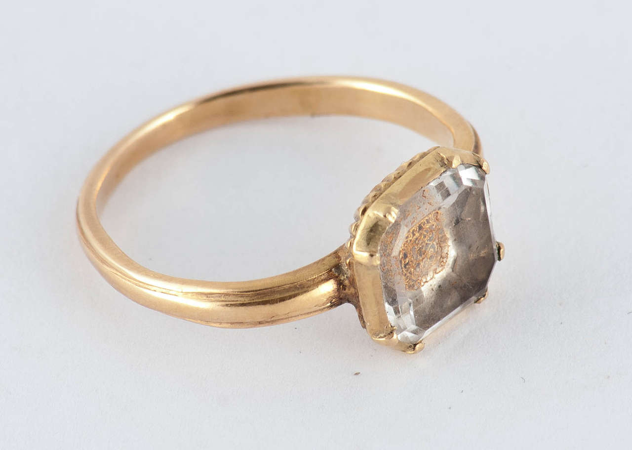 Antique Seventeenth Century Stuart Crystal Gold Ring For
