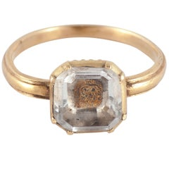 Antique Seventeenth Century Stuart Crystal Gold Ring