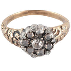 Antique Rose Diamond Gold Cluster Ring