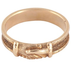 Antique Gold and Hair Fede Ring