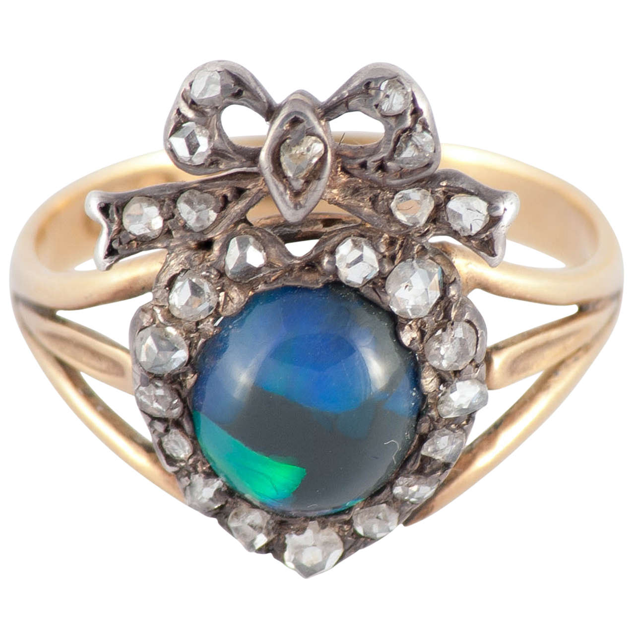 Victorian Black Opal Diamond Silver Gold Cocktail Ring 1