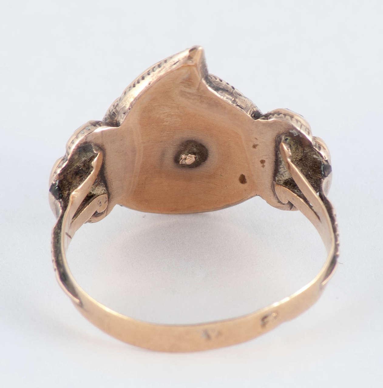 Women's or Men's Antique Spanish Garnet Gold Heart Ring For Sale