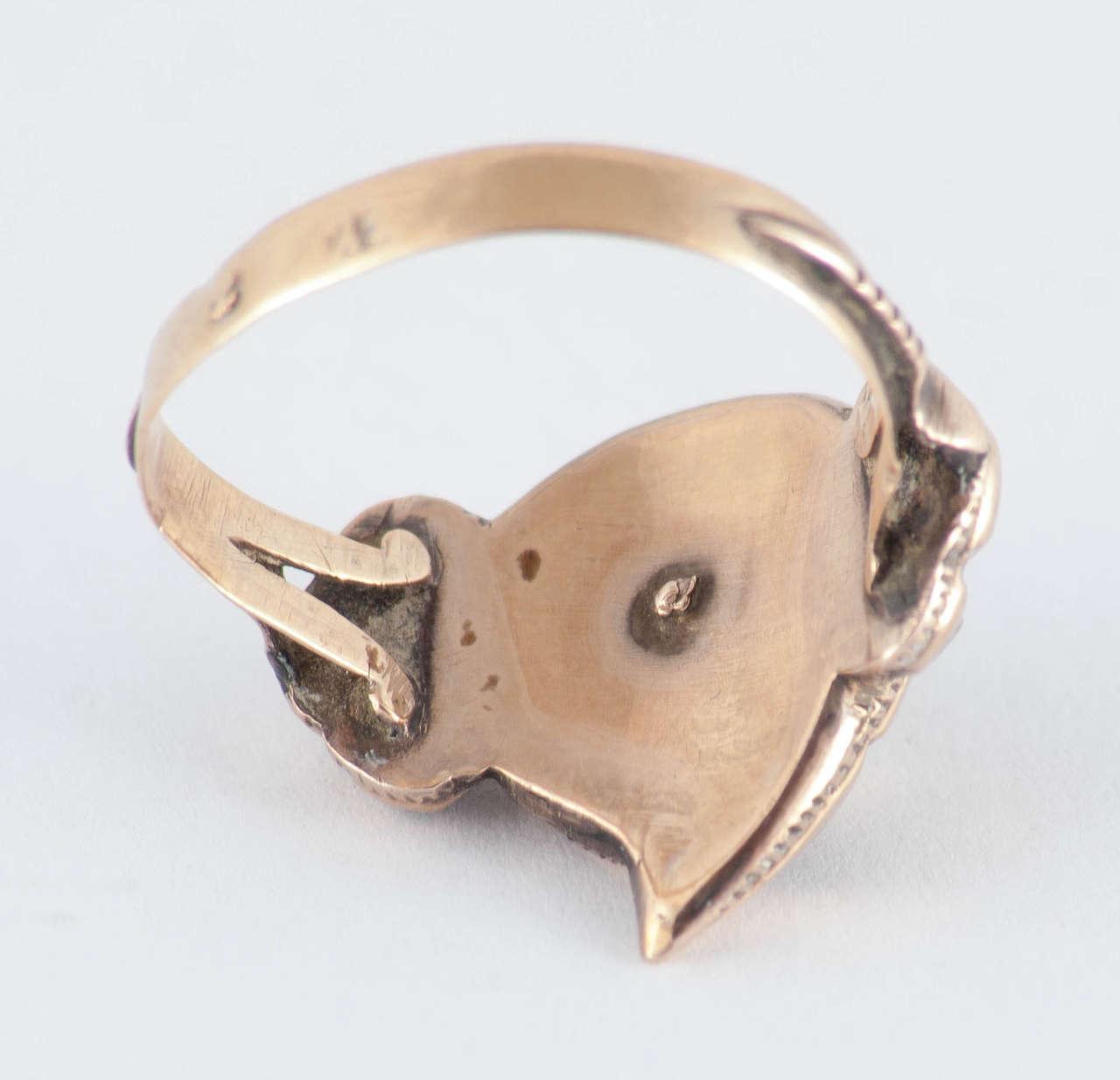 Antique Spanish Garnet Gold Heart Ring For Sale 1