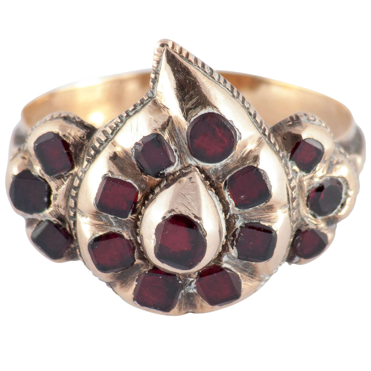 Antique Spanish Garnet Gold Heart Ring For Sale at 1stdibs
