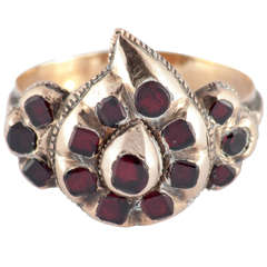 Antique Spanish Garnet Gold Heart Ring