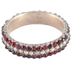 Victorian Garnet Pearl Silver Gold Eternity Ring