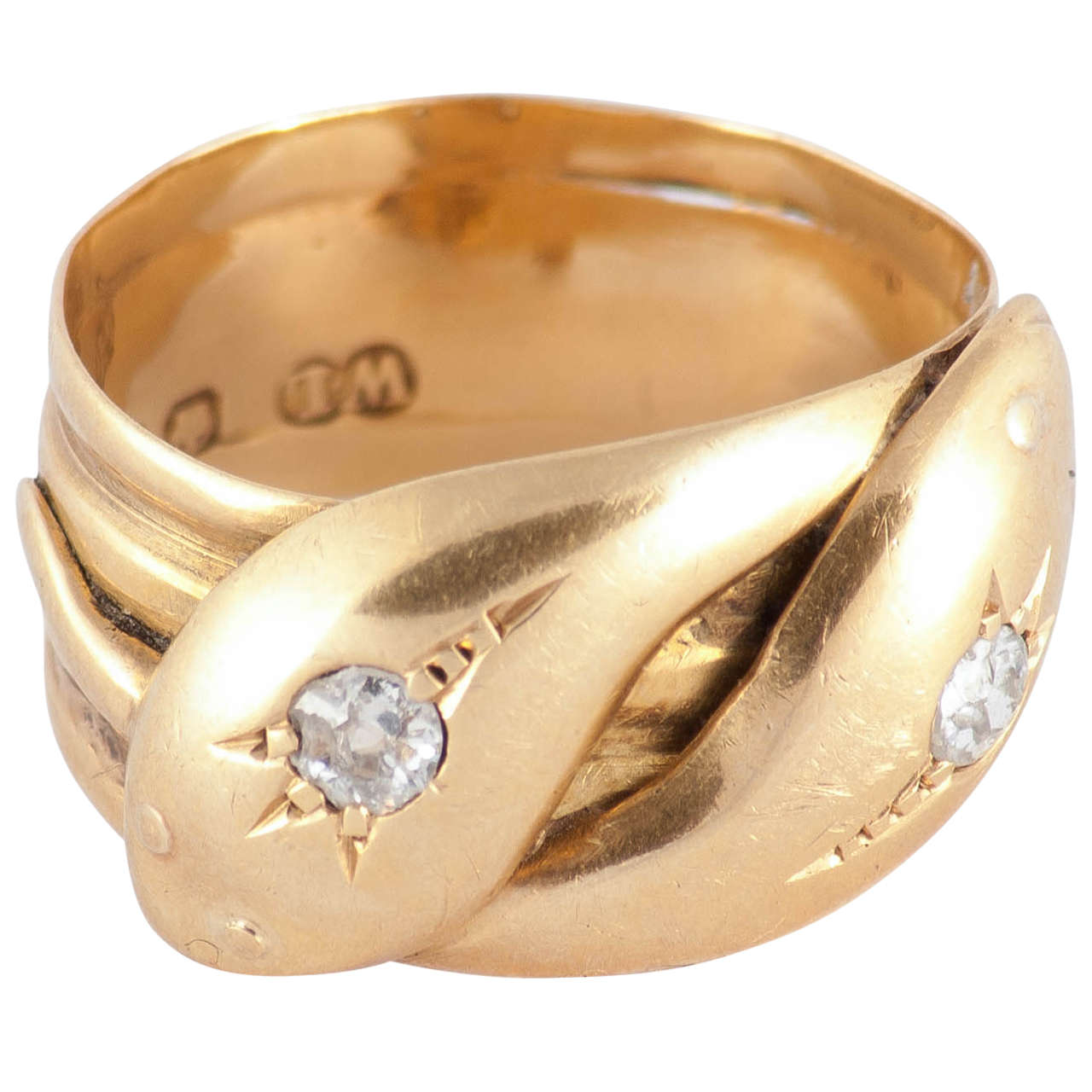 Antique Diamond Gold Double Snake Ring