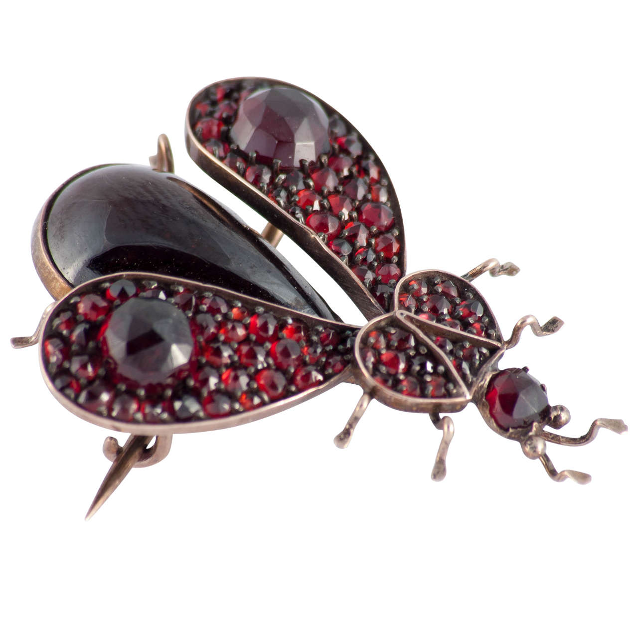 Victorian Garnet Gold Bug Pin