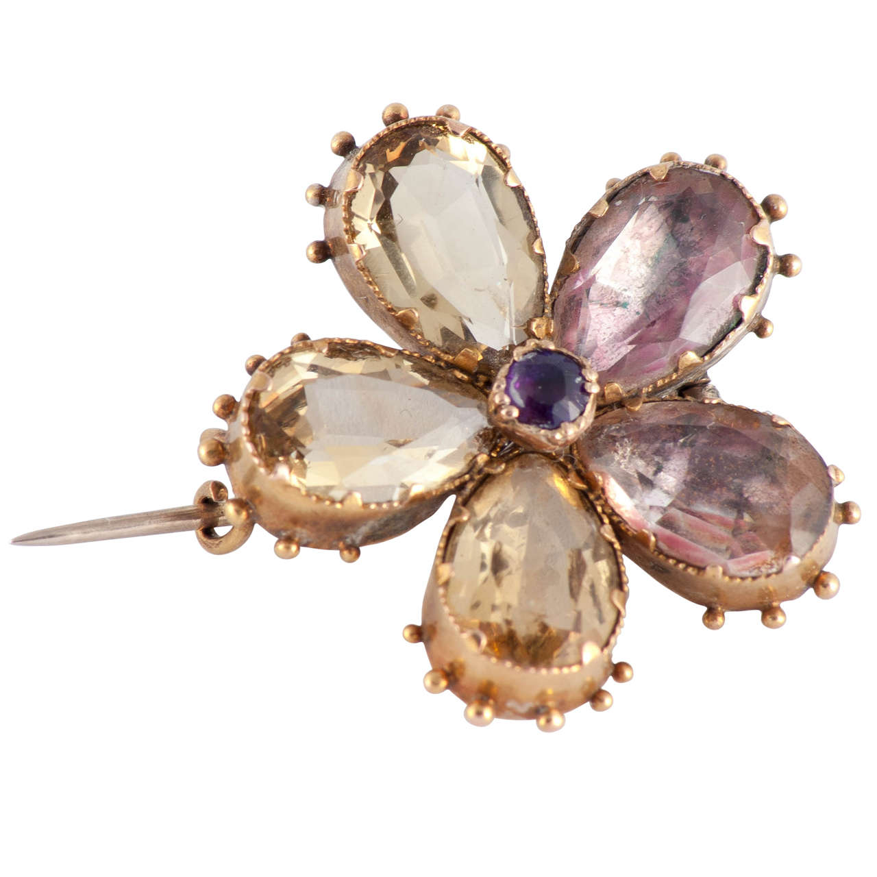 Antique Amethyst Citrine & 18K Gold Pansy Brooch, circa 1820