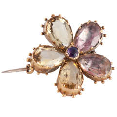 Antique Amethyst Citrine Gold Pansy Brooch
