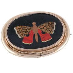 Antique Pietra Dura Butterfly Brooch
