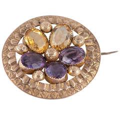 Antique Amethyst Citrine Gold Pansy Brooch