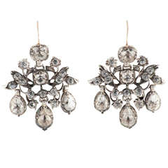 Antique Leaf Floral Motif Cluster Drop Paste Earrings
