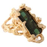 1960's Melted  Gold Ring with Emerald Cut Green Tourmaline