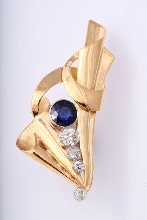 Impressive Retro Sapphire and Diamond Clip Earrings, circa 1940s 3