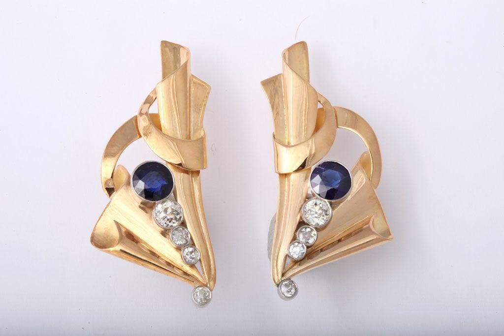 Impressive Retro Sapphire and Diamond Clip Earrings, circa 1940s 2