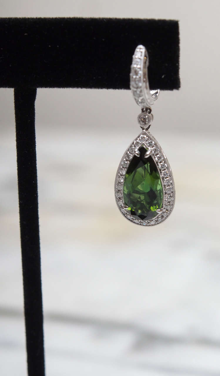 Chrome Tourmaline Diamond Gold Earrings In Excellent Condition For Sale In New Orleans, LA