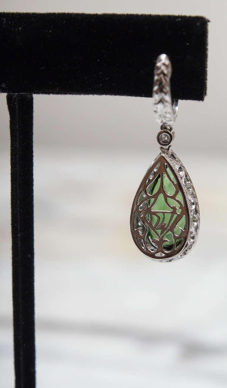 Women's Chrome Tourmaline Diamond Gold Earrings For Sale