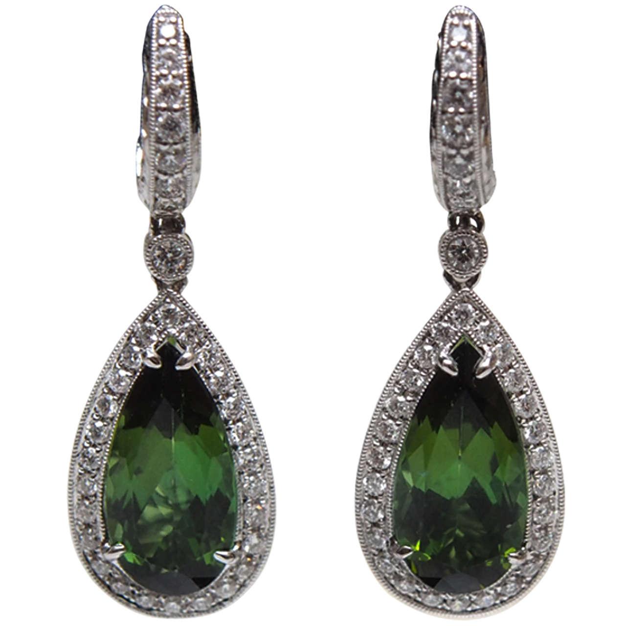 Chrome Tourmaline Diamond Gold Earrings For Sale