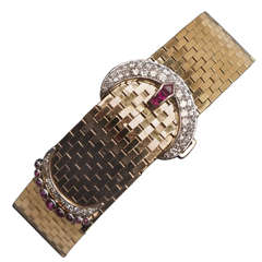 Diamond and Ruby Buckle Bracelet