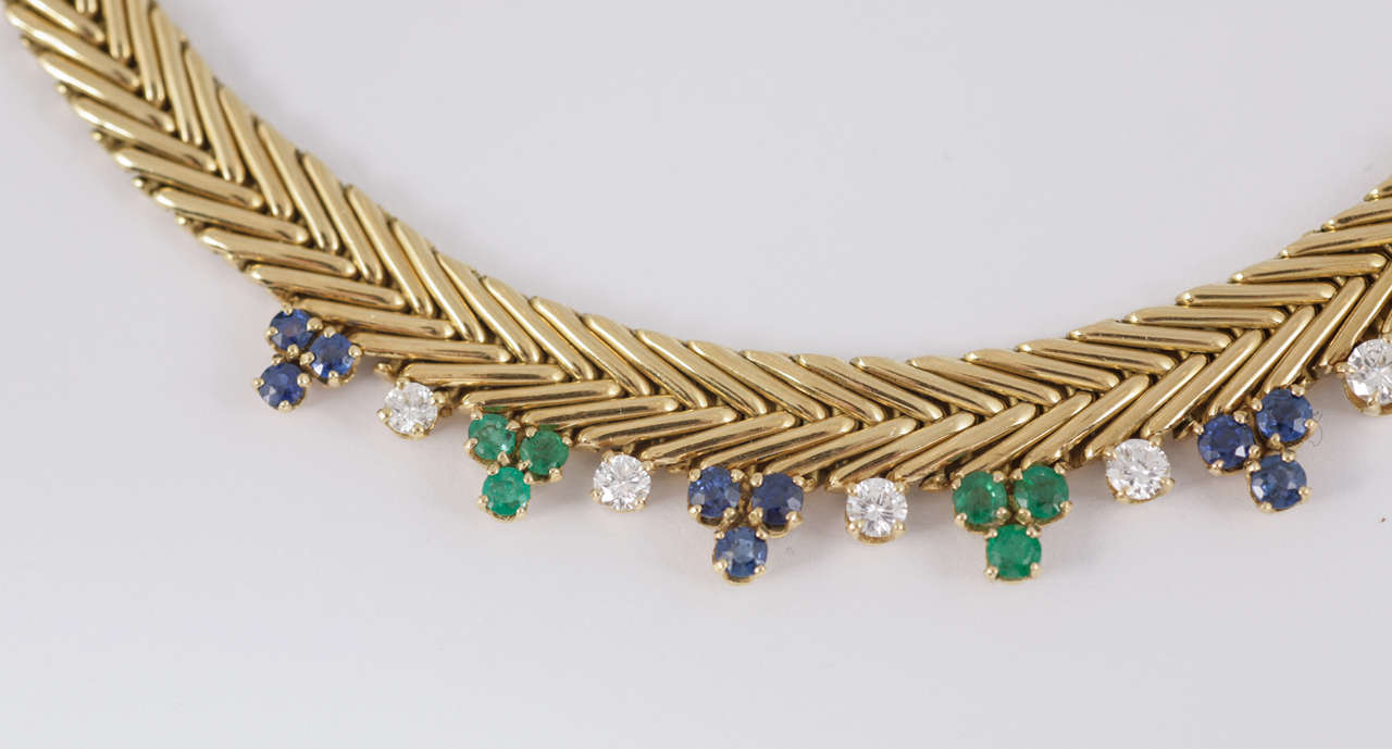 French Diamond Sapphire Emerald Gold Collar, 1950.