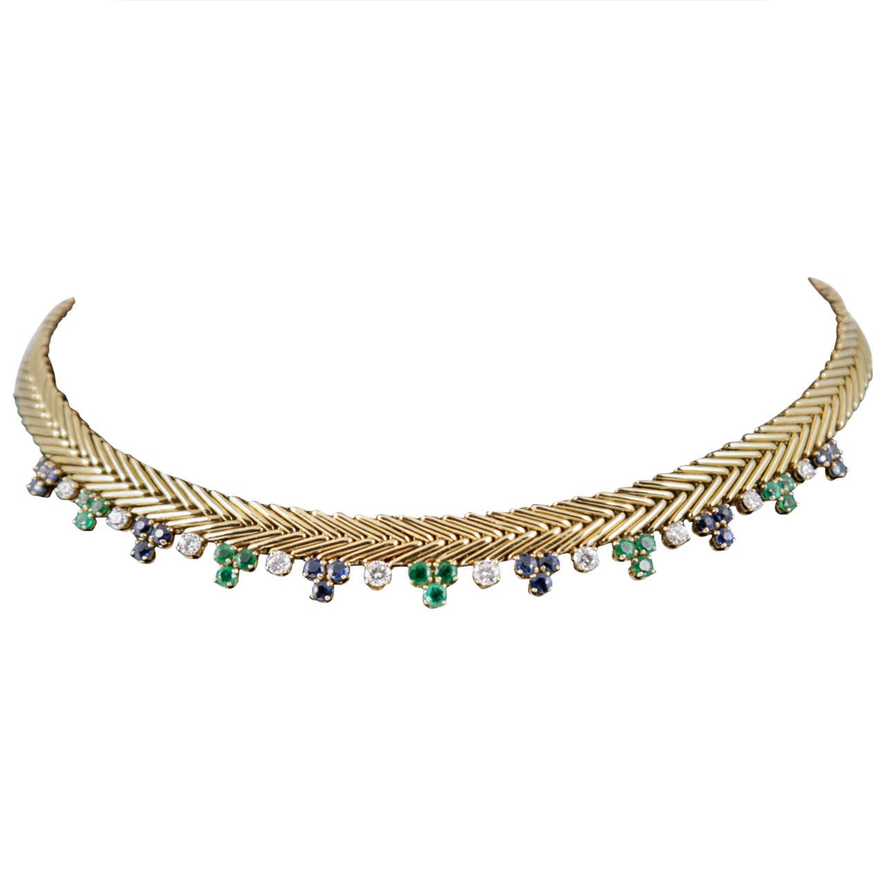 French Diamond Sapphire Emerald Gold Collar For Sale