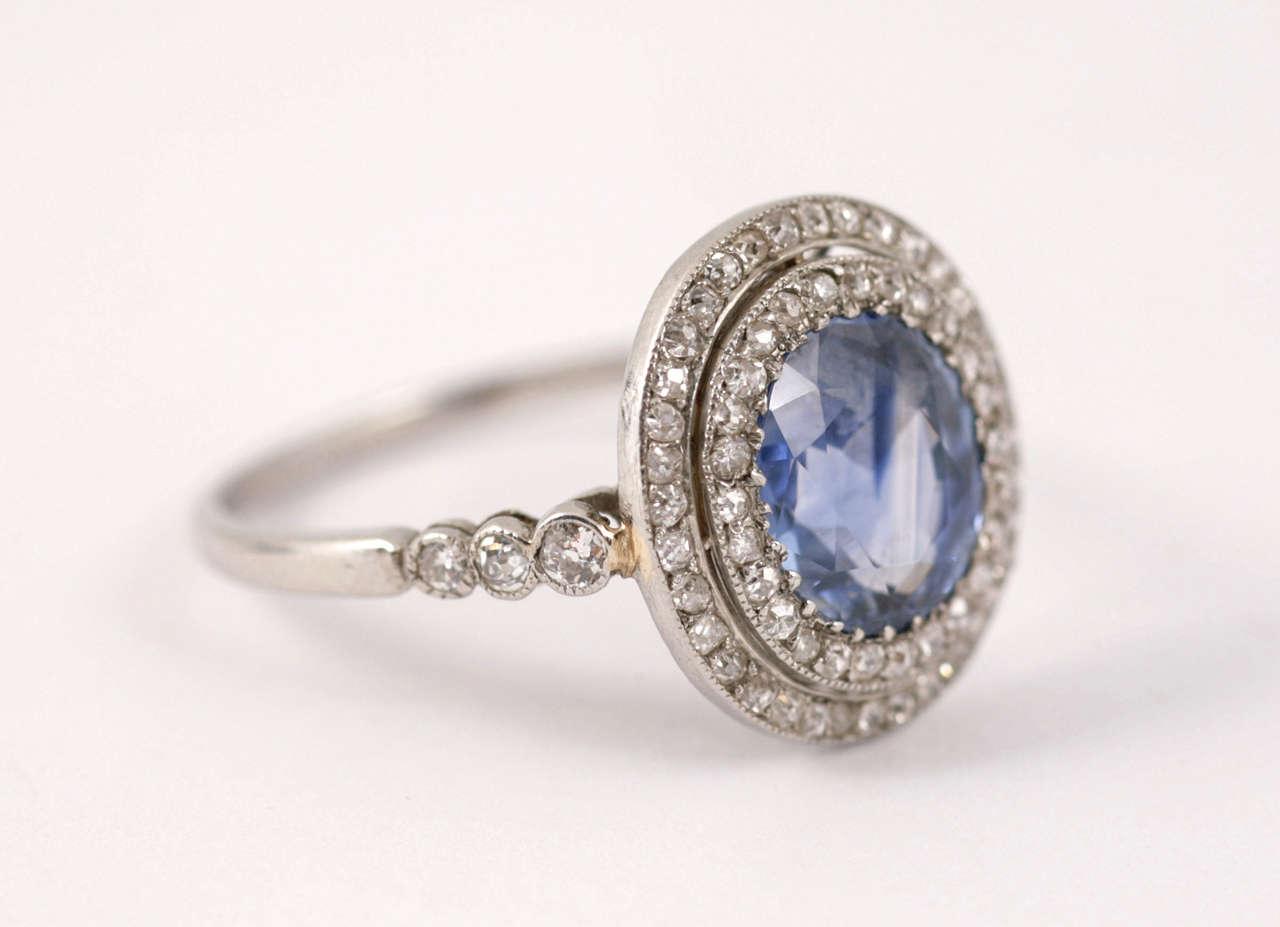 Edwardian Ceylon Sapphire Diamond Platinum Cluster Ring 3