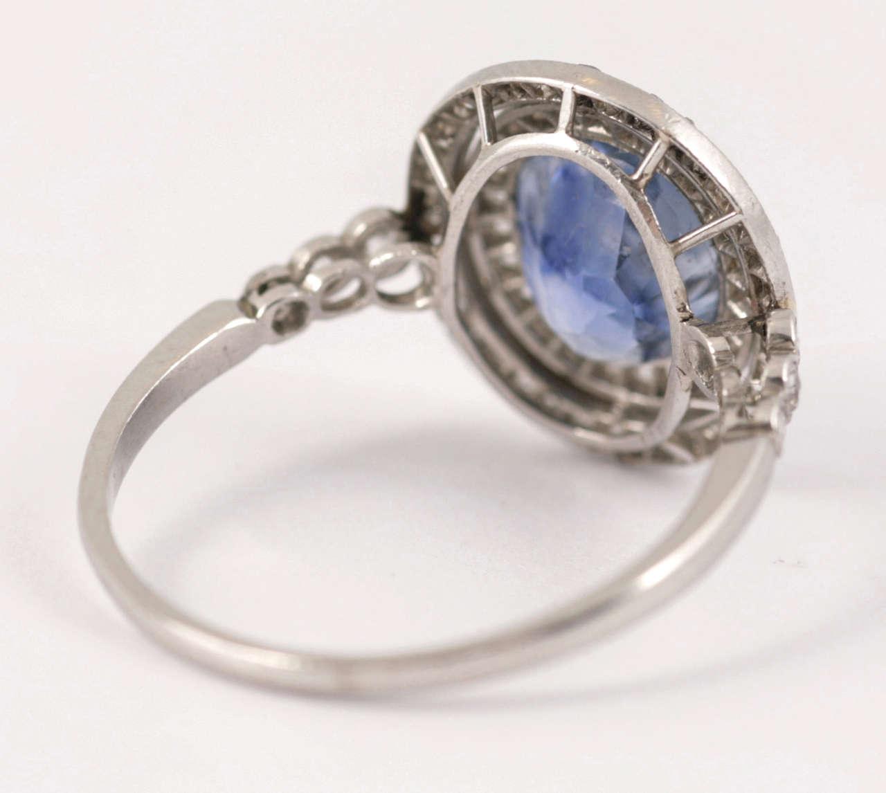 Edwardian Ceylon Sapphire Diamond Platinum Cluster Ring 4