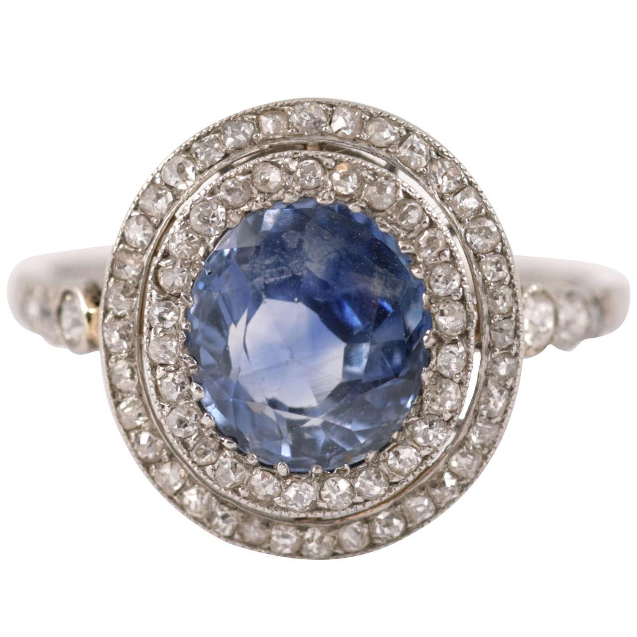 Edwardian Ceylon Sapphire Diamond Platinum Cluster Ring 1