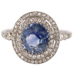 Edwardian Ceylon Sapphire Diamond Platinum Cluster Ring