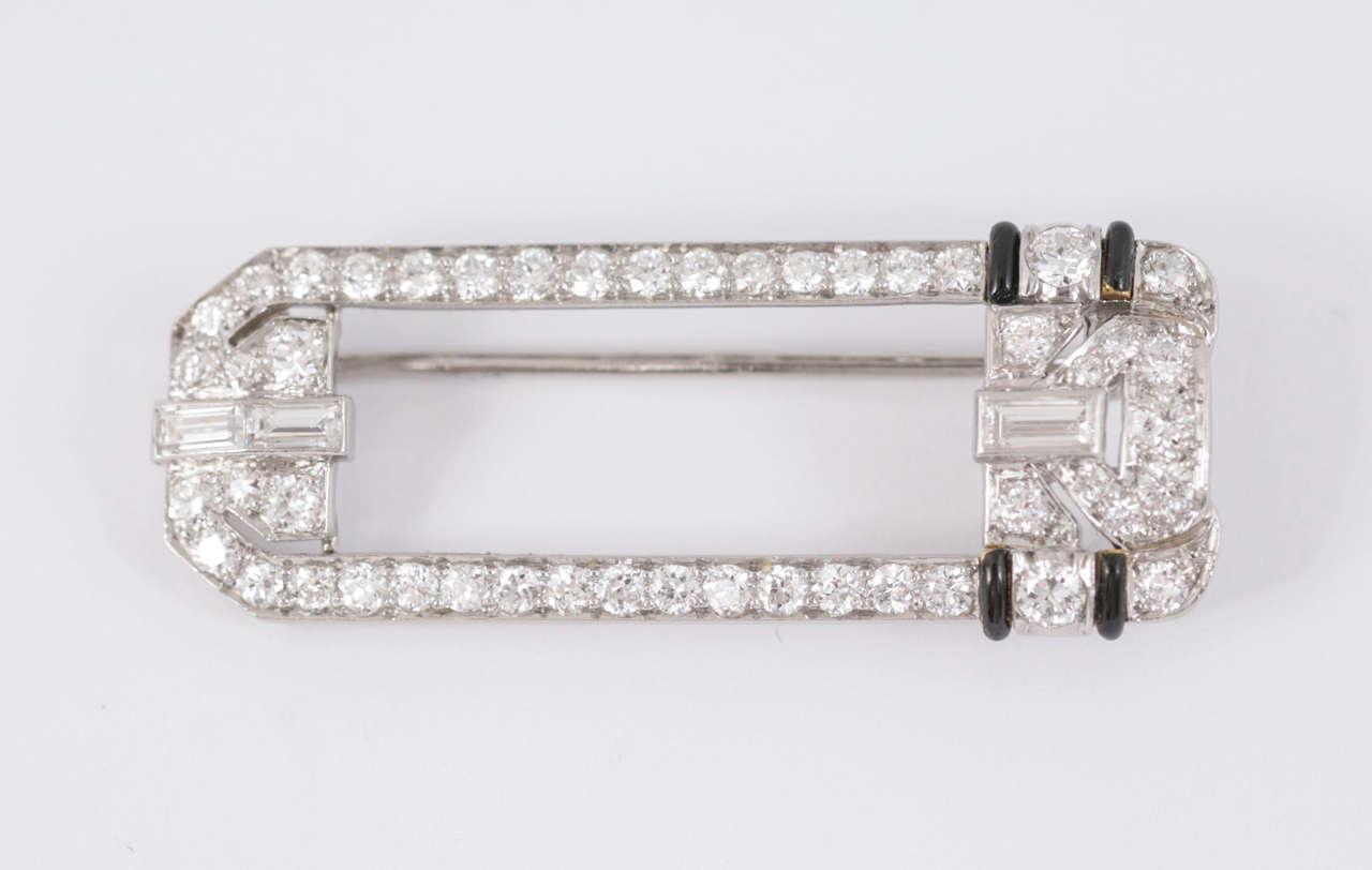 Women's Art  Deco Diamond Black Enamel Platinum Mounted Brooch For Sale