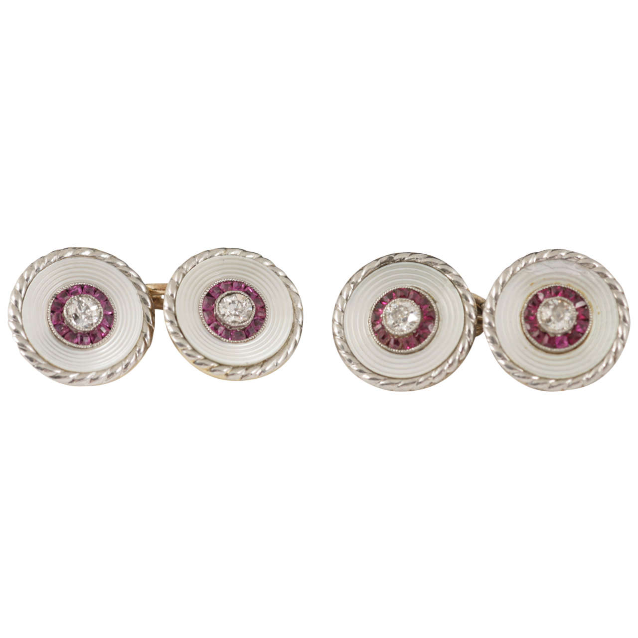 Edwardian Pair of Burma Ruby Diamond Gold Platinum Cufflinks and two Studs For Sale