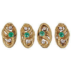 Edwardian Emerald Diamond Gold Cufflinks