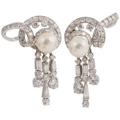 Harry Winston Diamond and Pearl ear clips