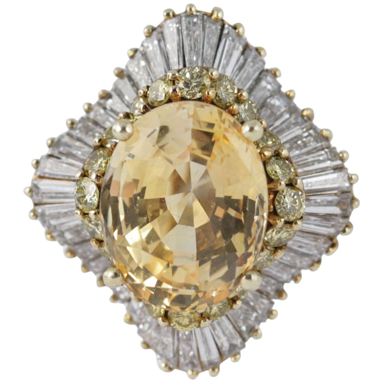 Yellow Sapphire Yellow and White Diamond Gold Ballerina Ring
