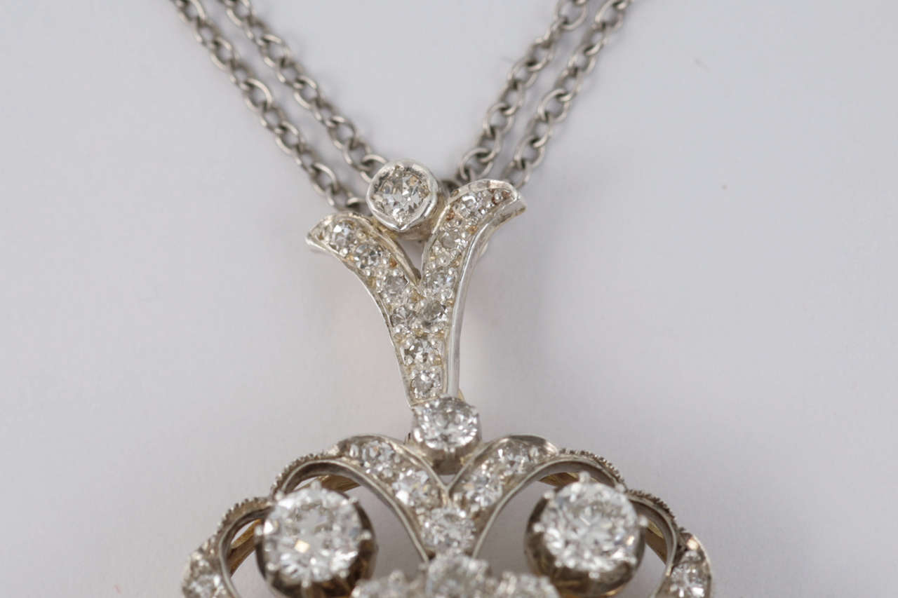 Late Victorian Diamond Target Cluster Brooch/Pendant In Excellent Condition For Sale In London, GB